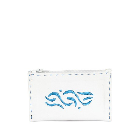 Embroidered Leather Coin Wallet in White, Blue from Abury