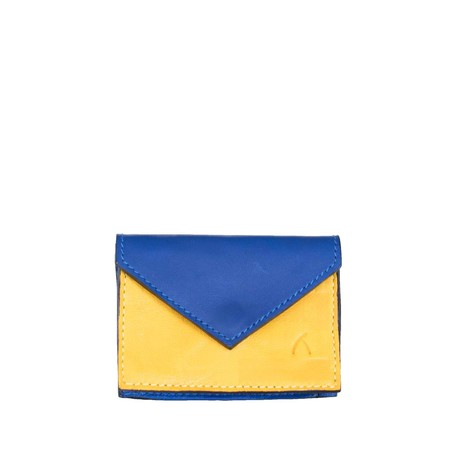 Leather Business Card Holder in Blue, Yellow from Abury