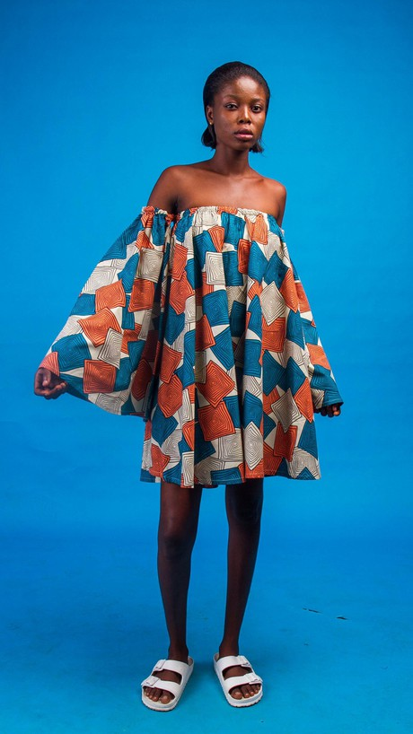 Neyruus African Print Off Shoulder Dress from Atelier D'Afrique