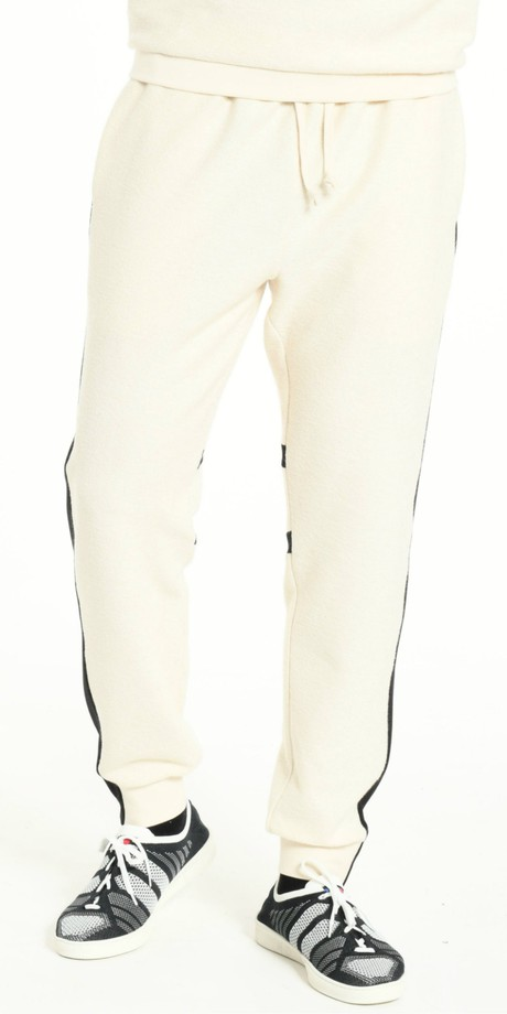 JOGGING PANTS OFFWHITE WITH BLACK STRIP from BEARD & FRINGE