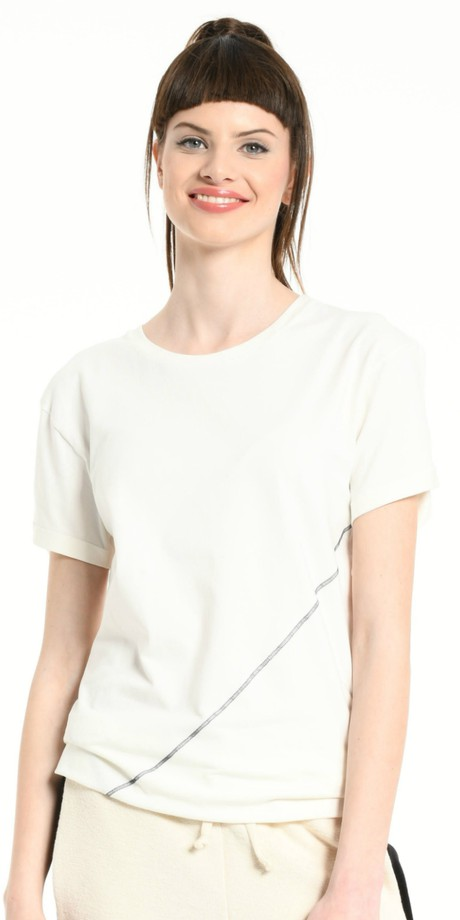 TEE SHIRT OFF WHITE DIAGONALE SEWING DARK GREY from BEARD & FRINGE