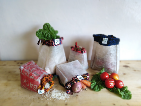 Produce bags (2 small, 1 medium, 2 large) from Clean & Proud