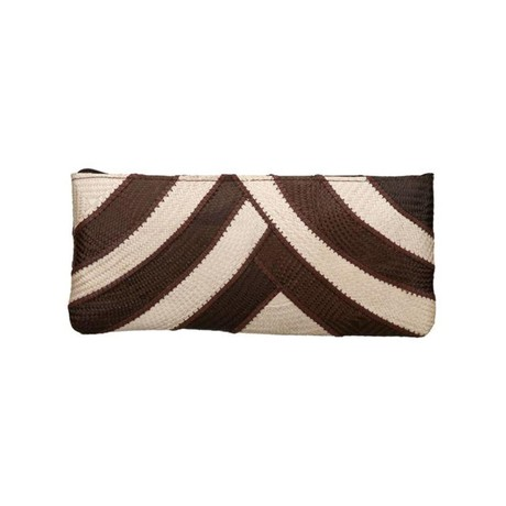 Riza Clutch Banded Brown Cream from Disenyo