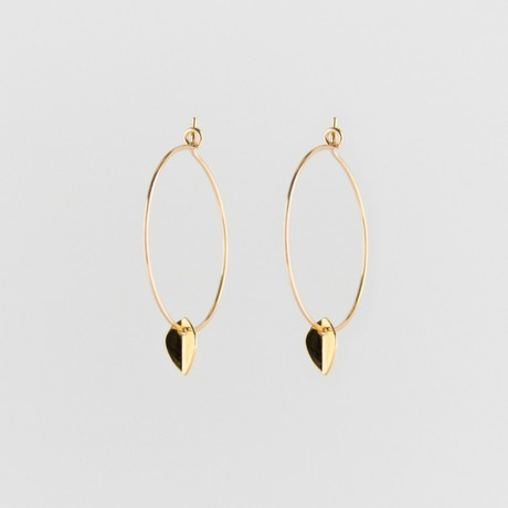 Mini leaf creole earrings gold from Julia Otilia
