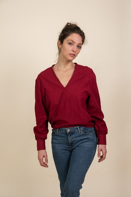 Blouse Orumichu  Burgundy from Jyoti - Fair Works