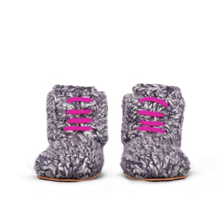 Storm Pink Wool Slippers for Kids 1 - 3 yrs old from Kingdom of Wow!