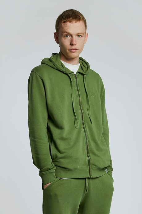 APOLLO Mens - GOTS Organic Cotton Zip Hoodie Olive from KOMODO