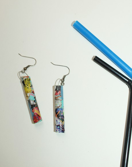 Citron Plastic Straw Earring 4 from Mancika Designs