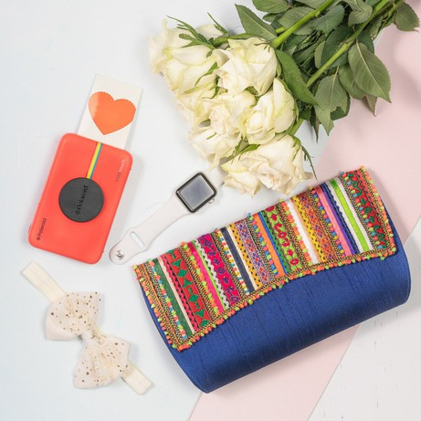 Blue Vegan Clutch Bag from Siyana London