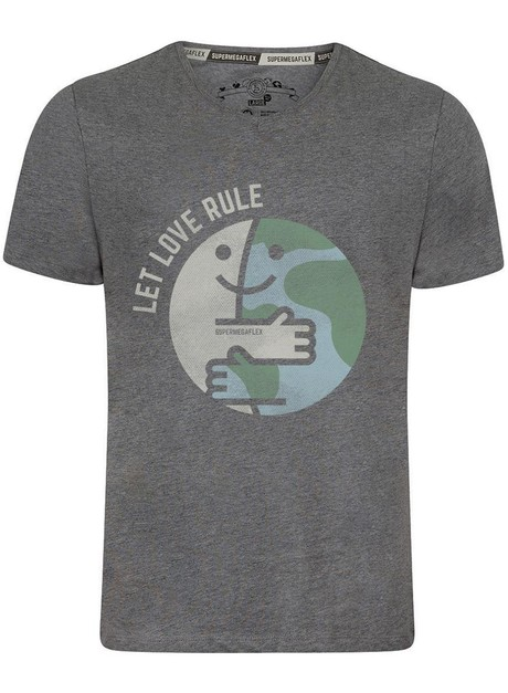 Organic tshirt - Let love rule - gray from Supermegaflex