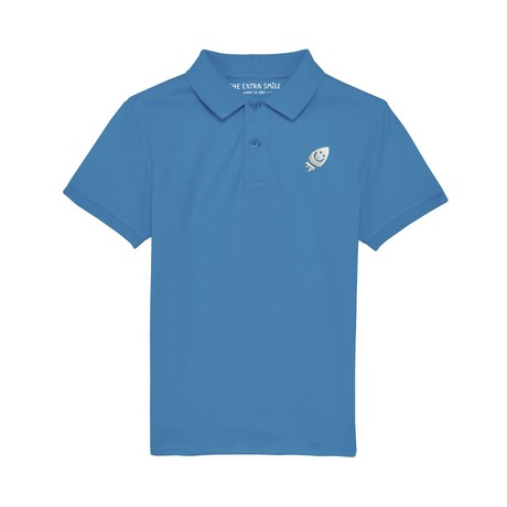 Pre-order Oscar's bright blue polo shirt from The Extra Smile