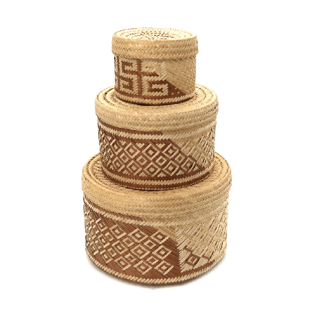 Woven Natural Straw Copper Baskets from Urbankissed