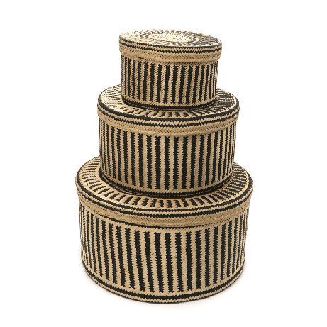 Woven Natural Straw Black Baskets from Urbankissed