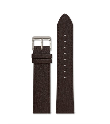 Piñatex Dark Brown with brushed silver buckle | 20mm from Votch