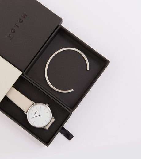 Silver Bangle with Silver & Light Grey Petite Watch from Votch