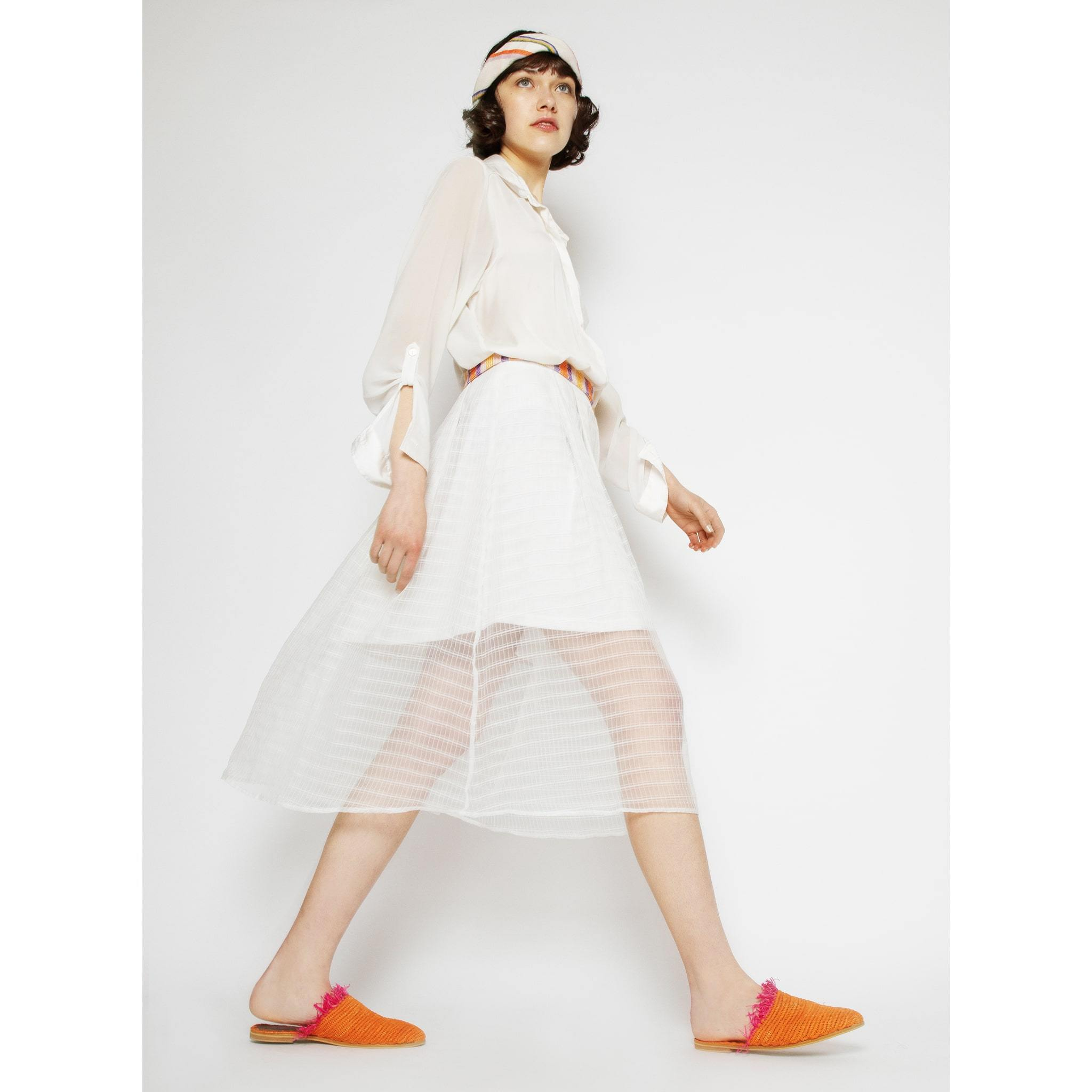 Raffia Slippers with Fringes in Orange, Pink from Abury