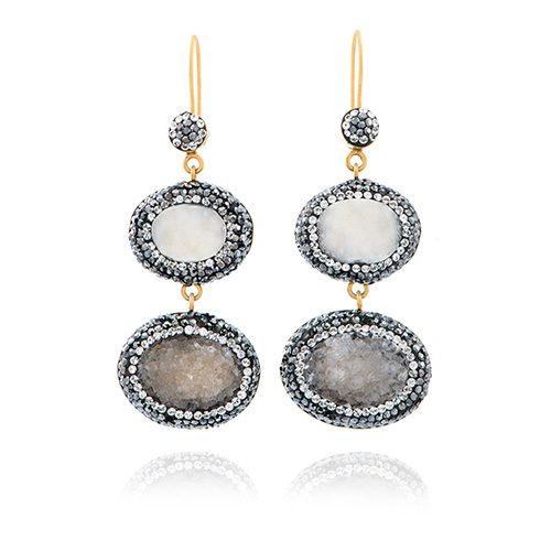 Precious witte dubbele druzzy oorbellen | Lenen from Ana Dyla