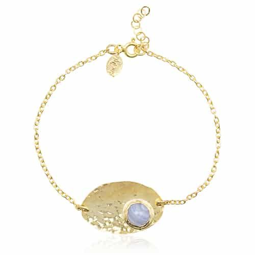 By Noon | Blauwe chalcedoon armband from Ana Dyla