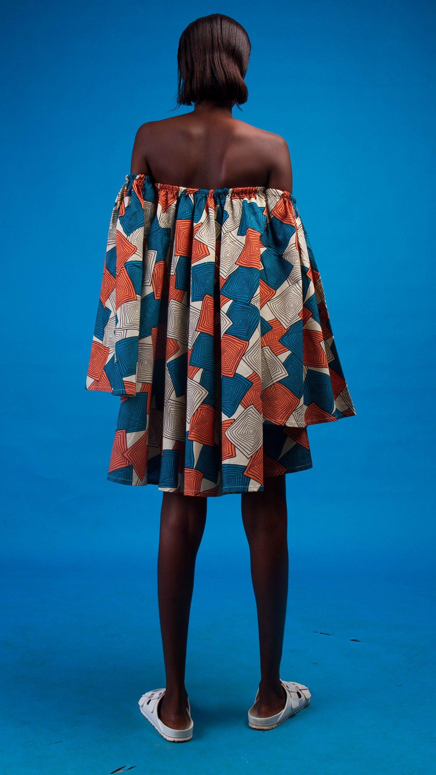 Neyruus African Print Off Shoulder Dress from Atelier D'Afrique