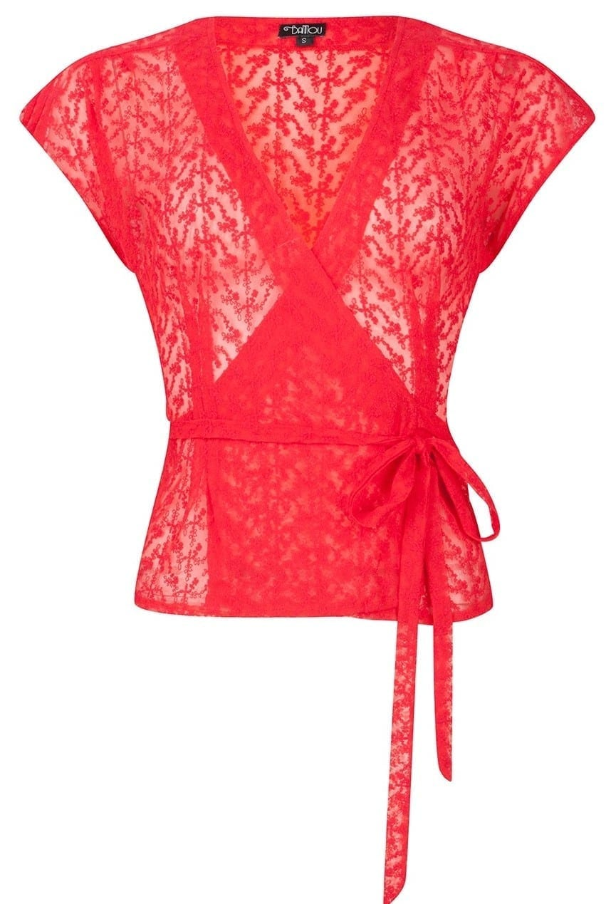 Bannou red marina lace top from Bannou