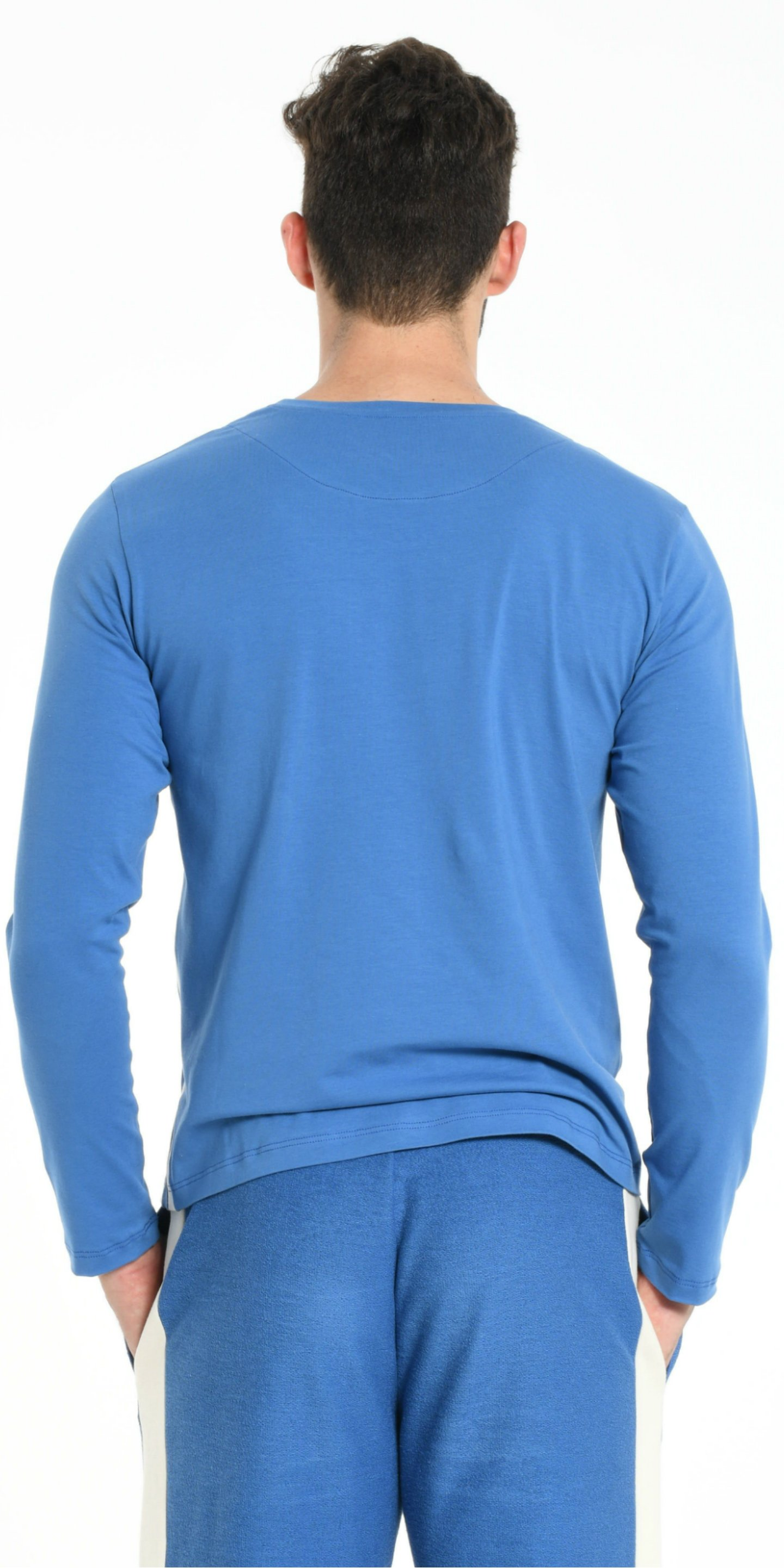 TEE SHIRT LONG SLEEVES BLUE WITH OFFWHITE STRIPS from BEARD & FRINGE