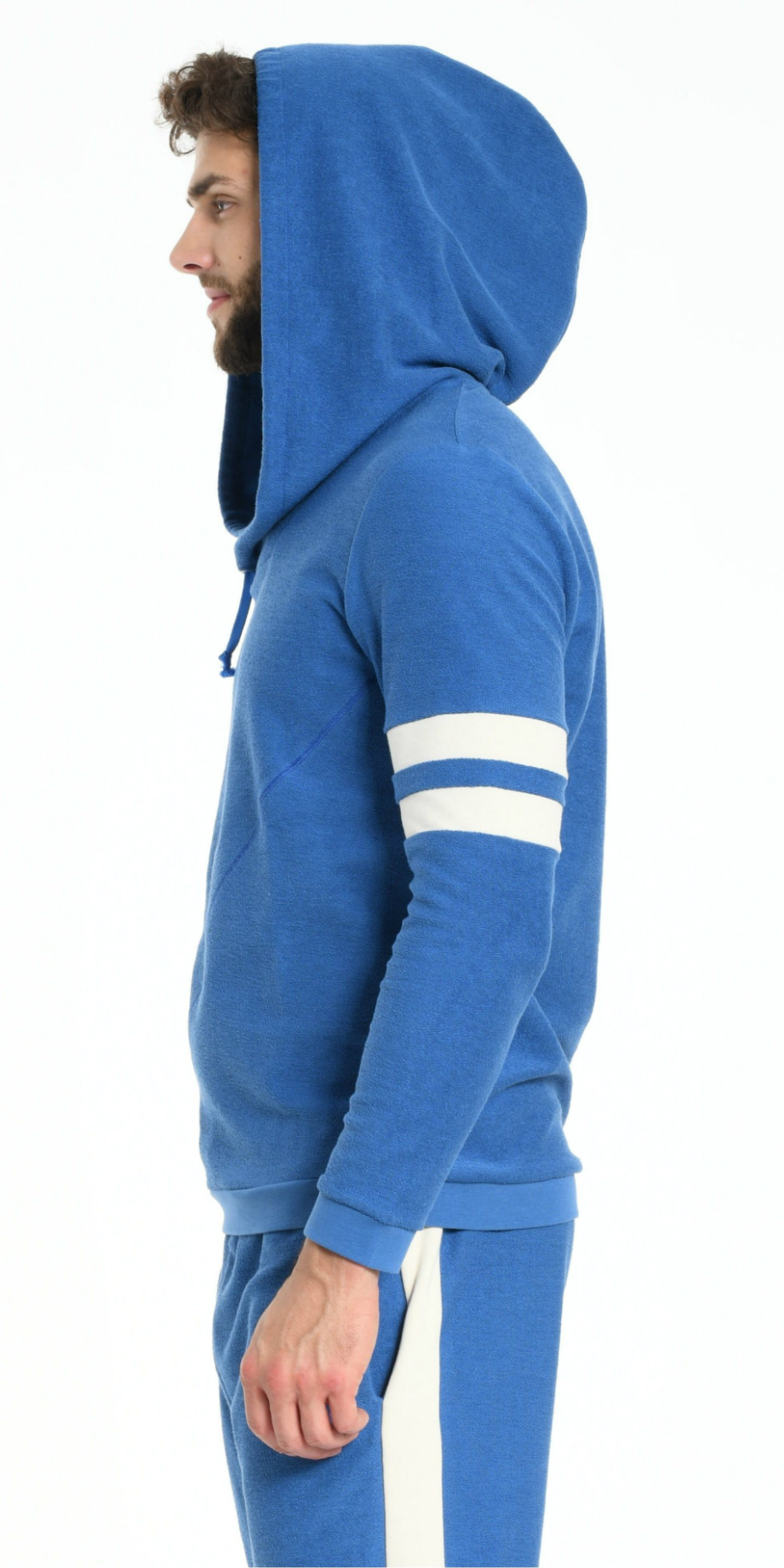 HOODIE BLUE WITH OFF WHITE STRIPS from BEARD & FRINGE