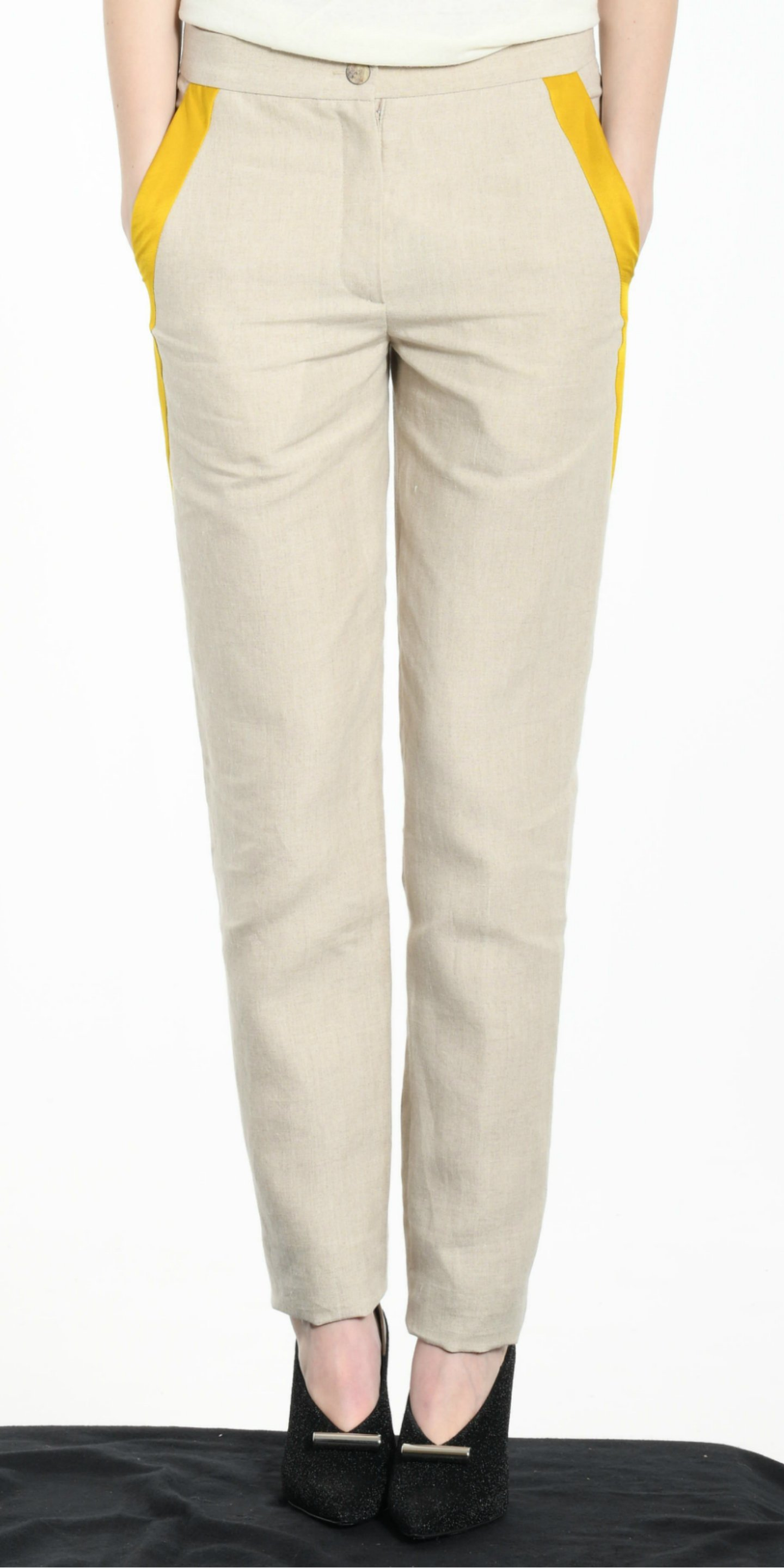 TROUSERS BEIGE WITH YELLOW STRIP from BEARD & FRINGE