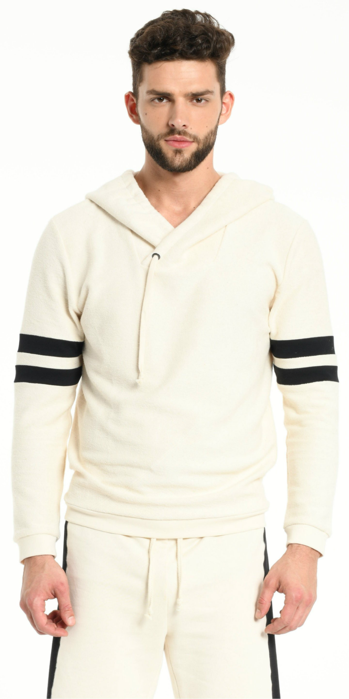 HOODIE OFF WHITE WITH BLACK STRIPS from BEARD & FRINGE