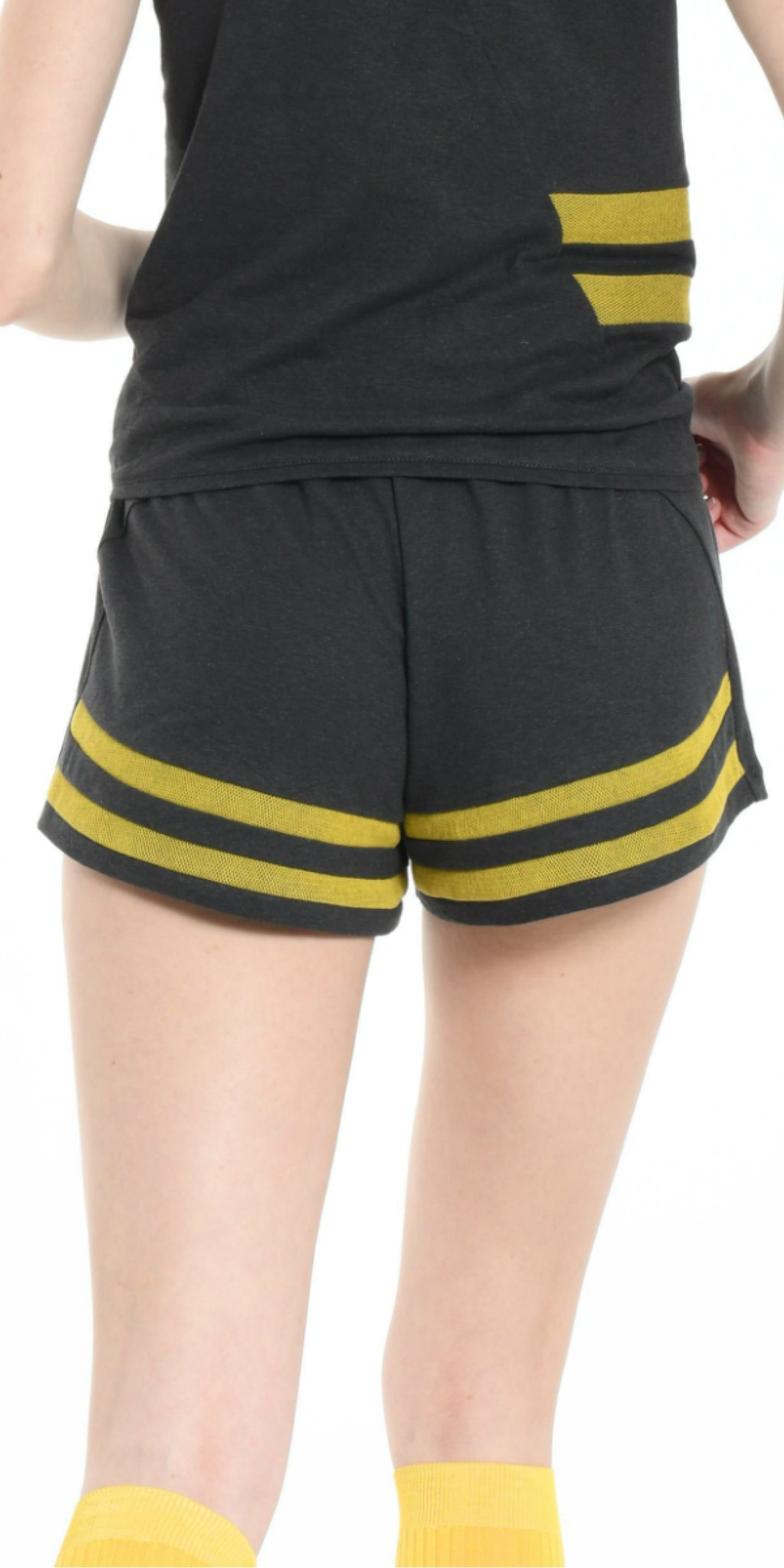 MINISHORT DARK GREY  WITH YELLOW STRIPS from BEARD & FRINGE