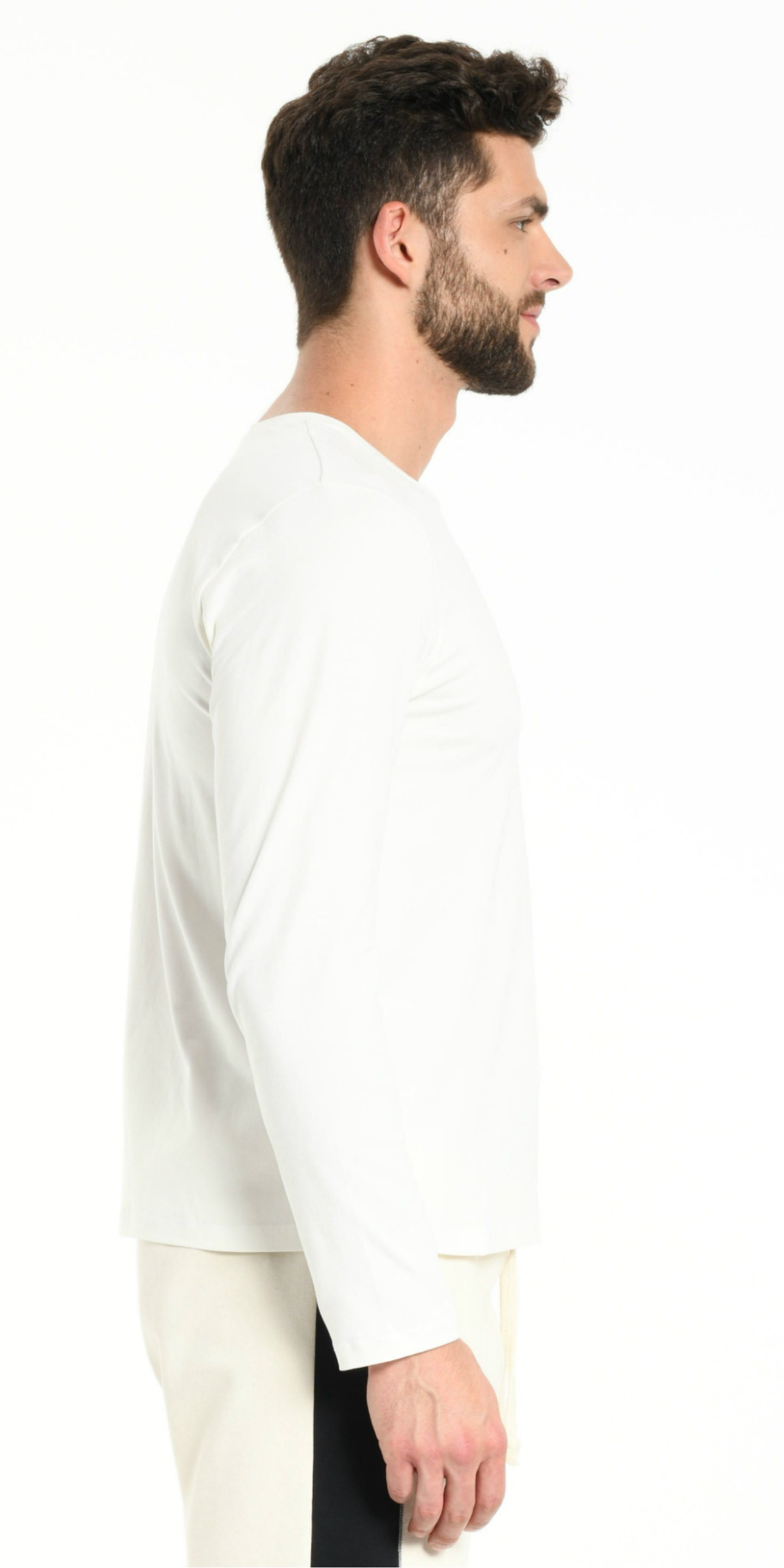 TEE SHIRT LONG SLEEVES OFFWHITE WITH BLACK STRIPS from BEARD & FRINGE