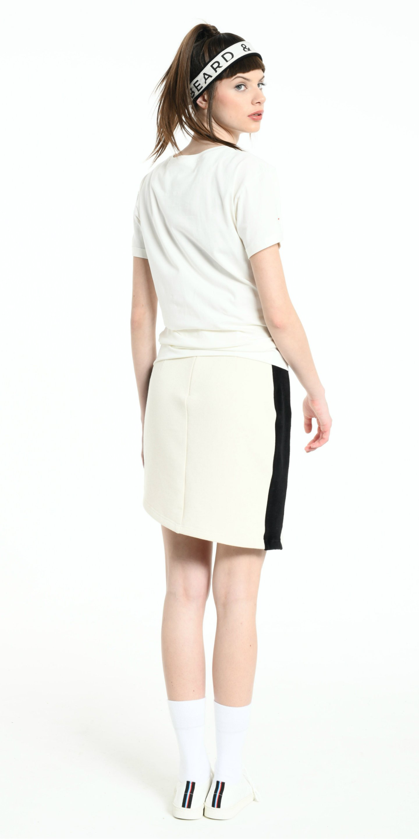 SKIRT OFF WHITE WITH BLACK STRIP from BEARD & FRINGE