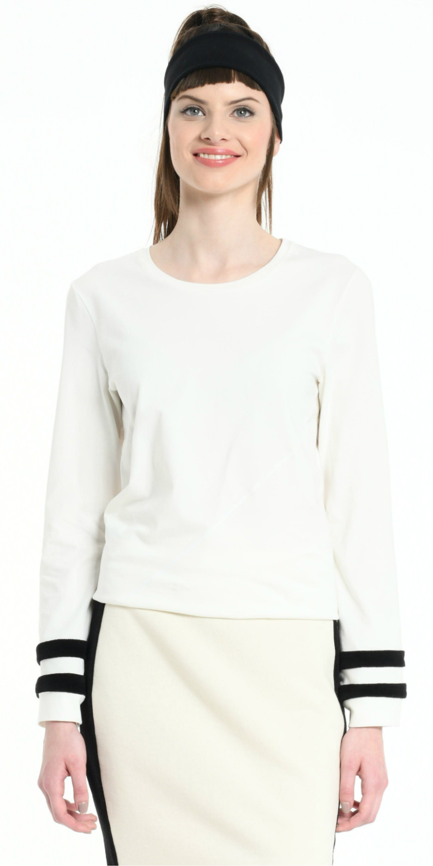 TEE SHIRT LONG SLEEVES OFF WHITE WITH BLACK STRIPS from BEARD & FRINGE