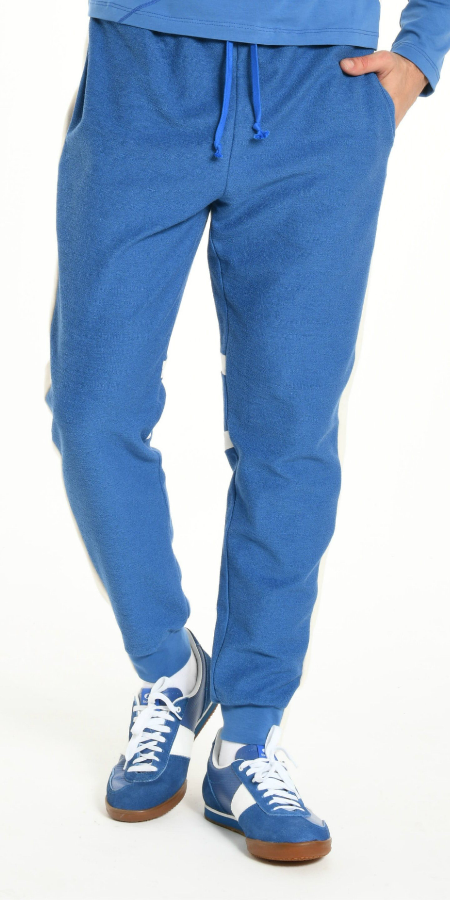 JOGGING PANTS BLUE WITH OFFWHITE STRIP from BEARD & FRINGE
