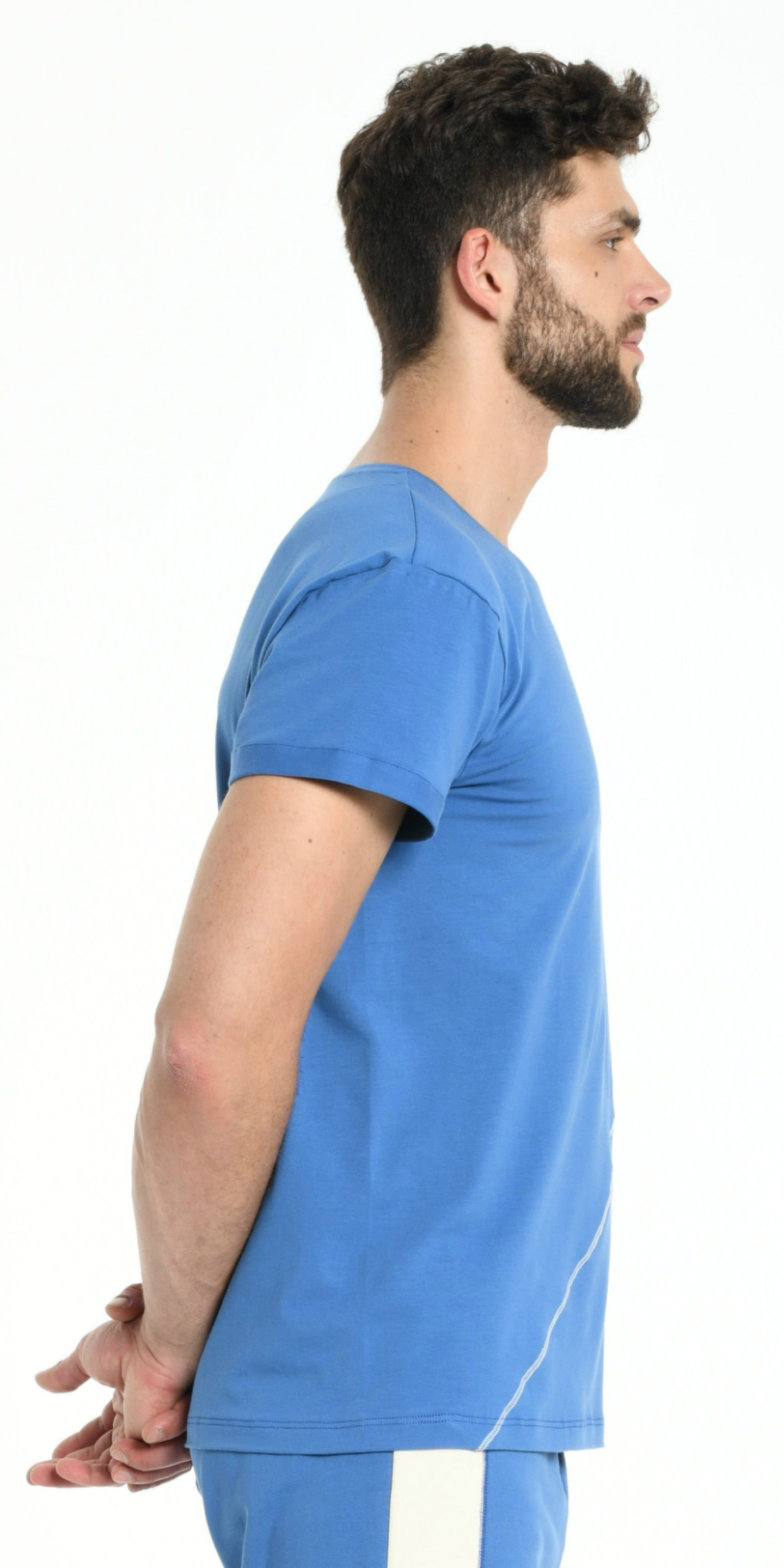 TEE SHIRT BLUE  DIAGONAL SEWING OFF WHITE from BEARD & FRINGE
