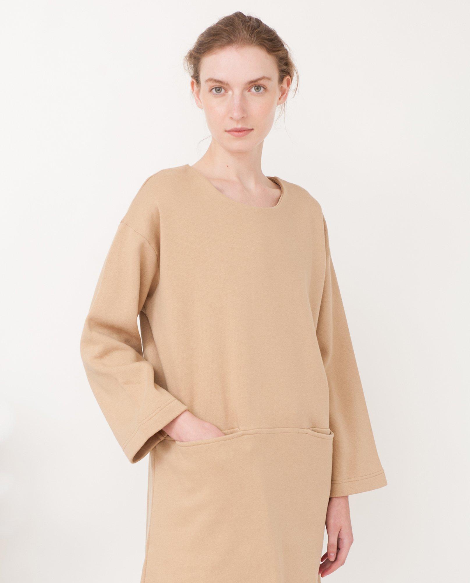 IDA Organic Cotton Sweatshirt Dress In Stone from Beaumont Organic