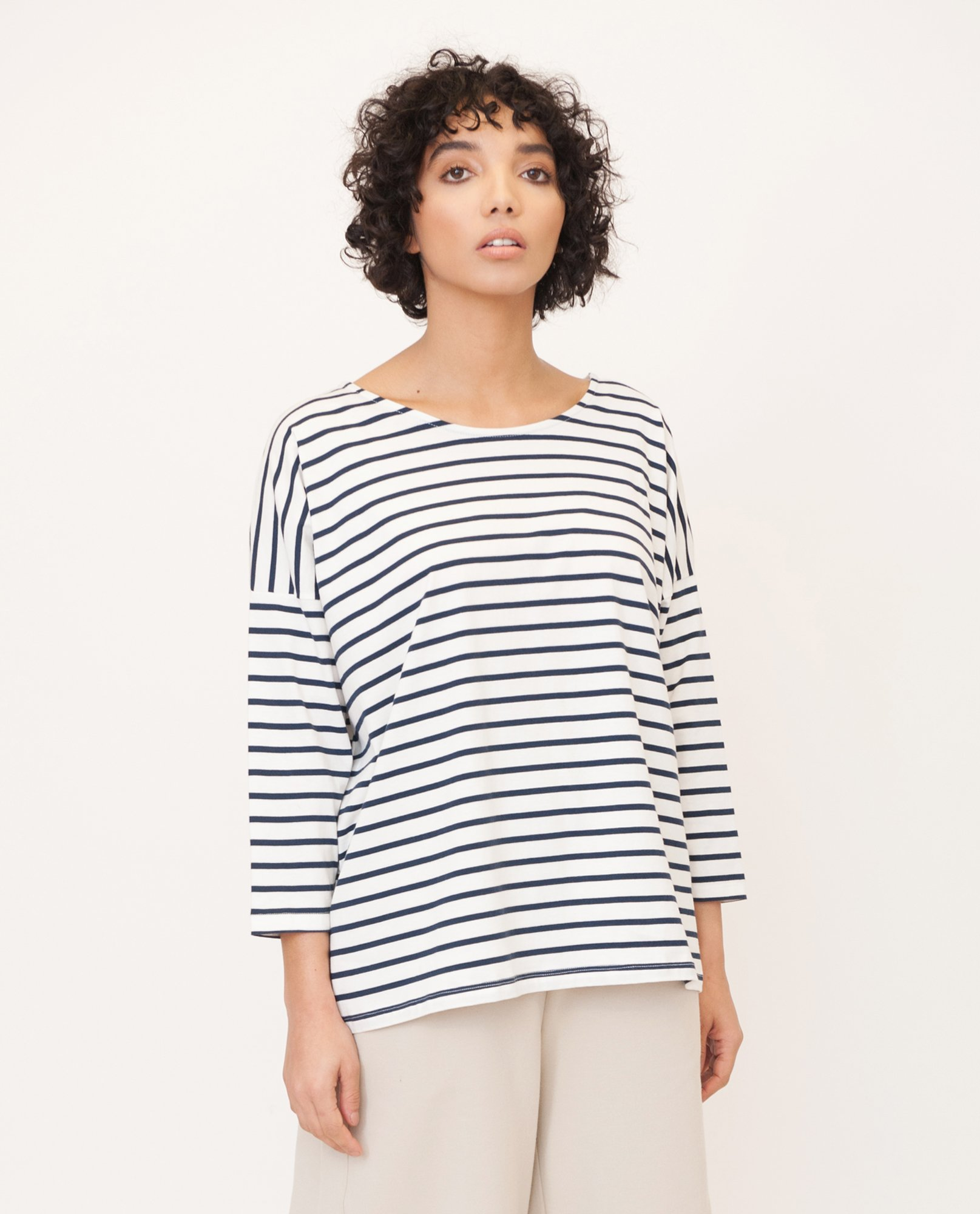 ROSIE Organic Cotton Top In Navy And Cream from Beaumont Organic