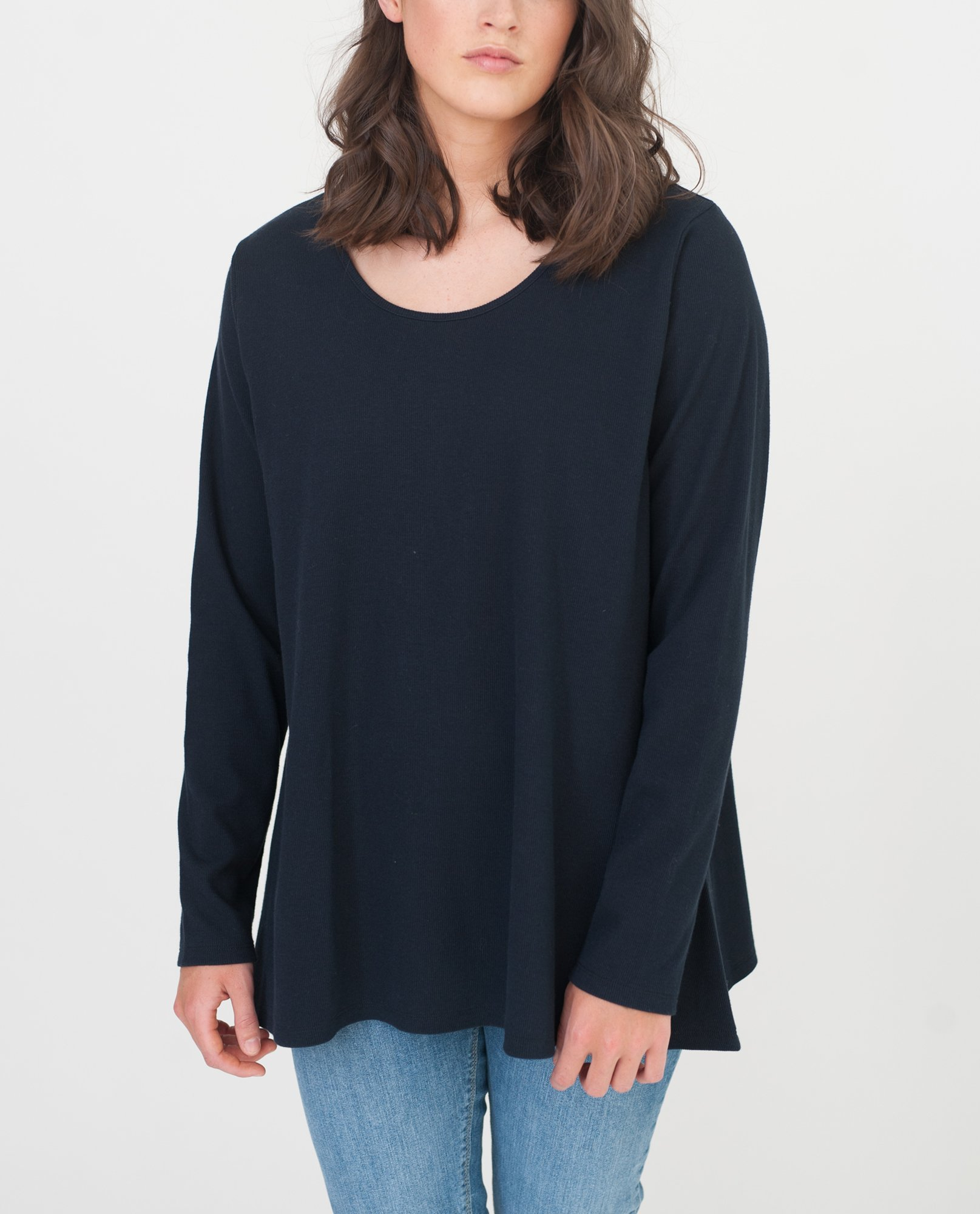 HELSA-JANE Organic Cotton Swing Top In Navy from Beaumont Organic