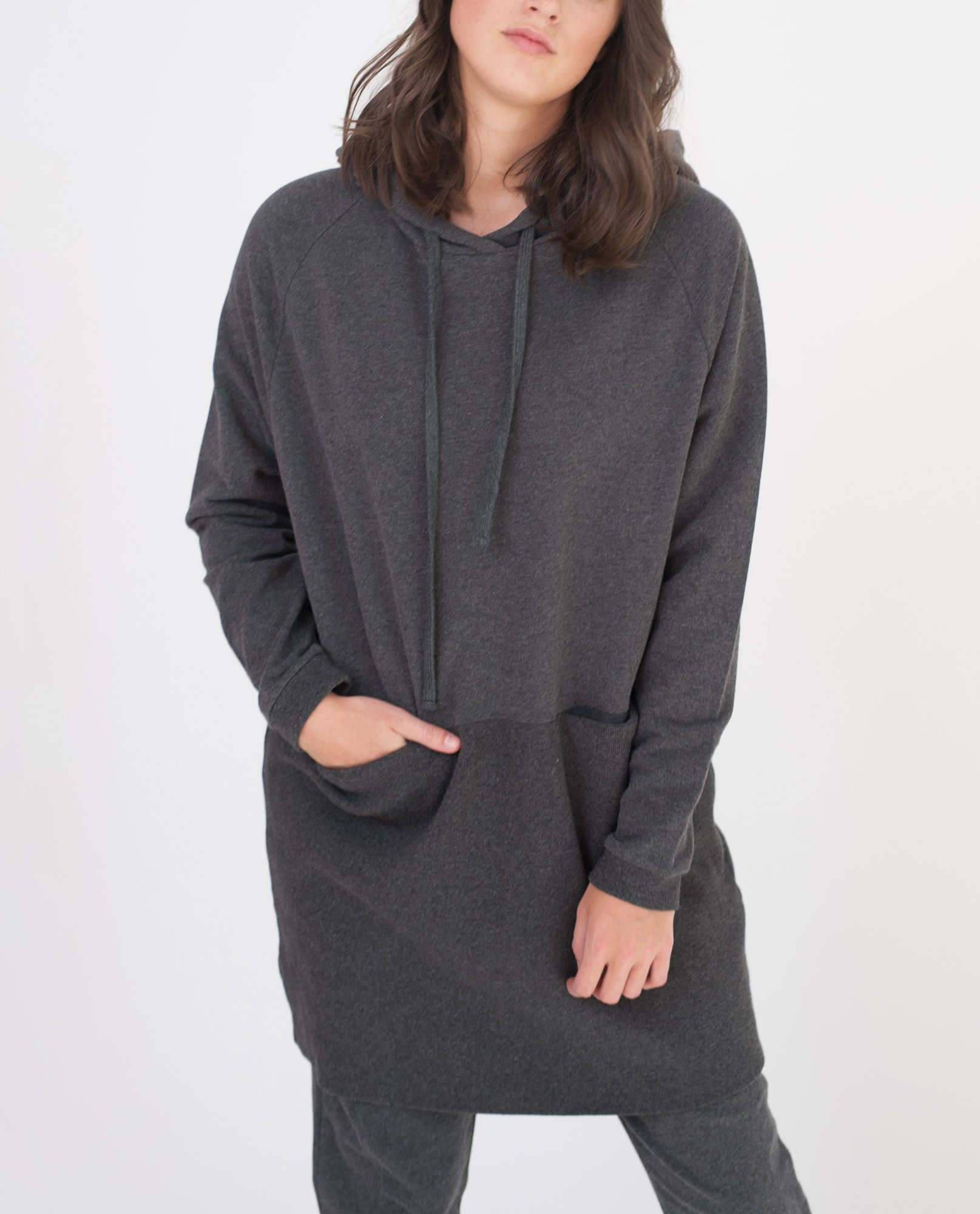 NOAH Organic Cotton Hooded Dress In Dark Grey from Beaumont Organic