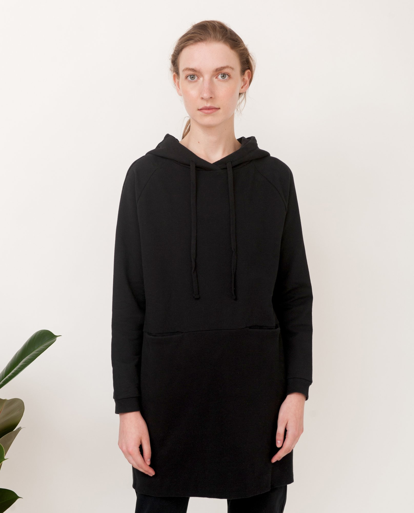 NOAH Organic Cotton Hooded Dress In Black from Beaumont Organic