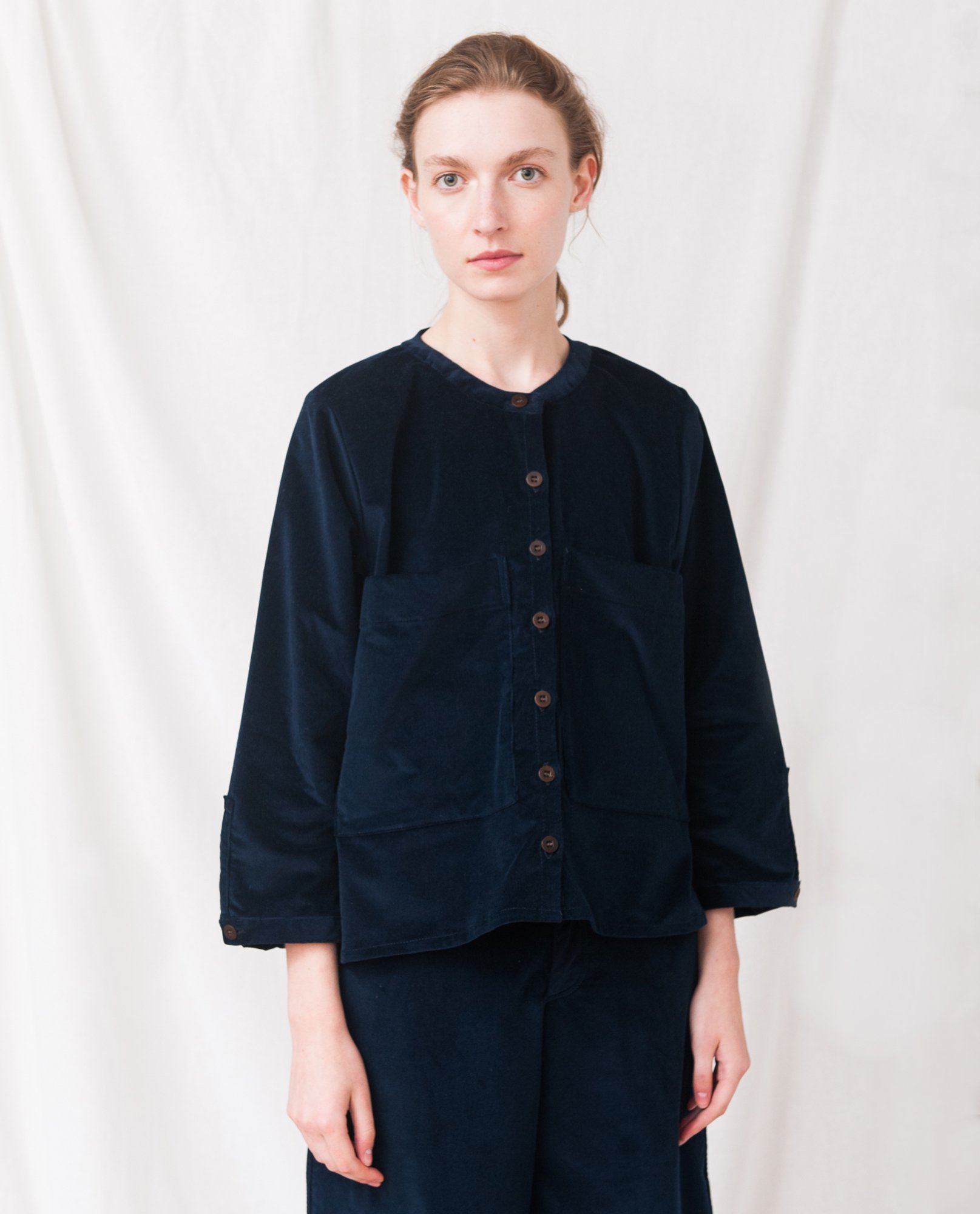 BONNIE Organic Cotton Cord Shirt In Navy from Beaumont Organic