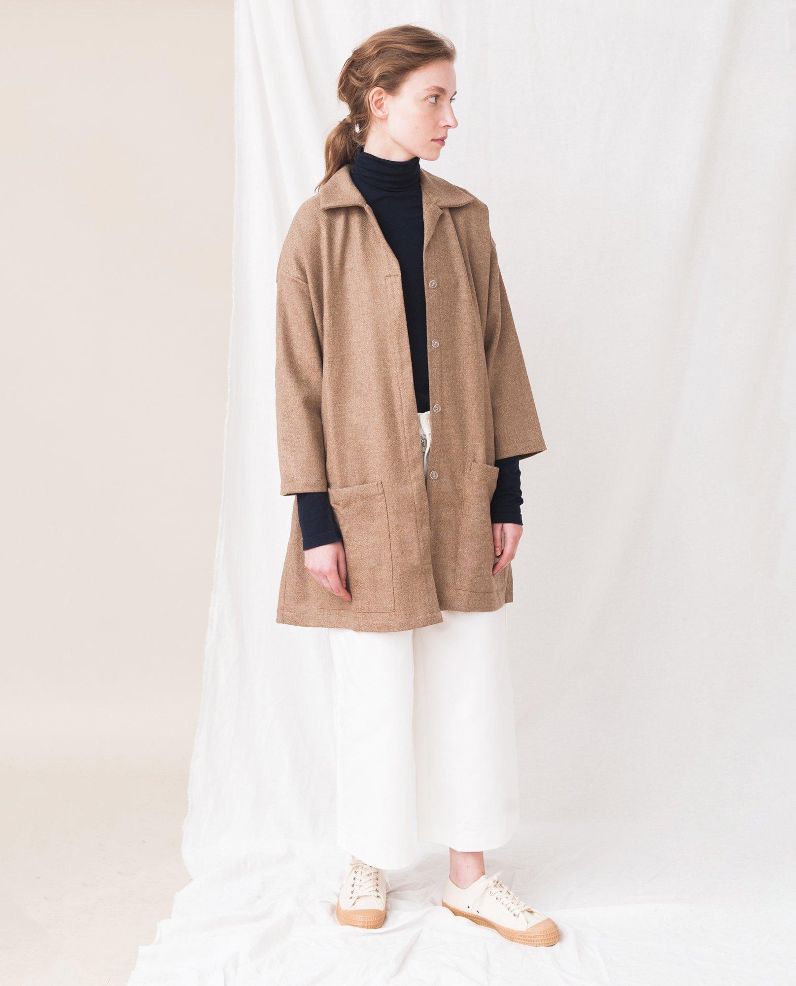 HETTY Wool Coat In Tan from Beaumont Organic