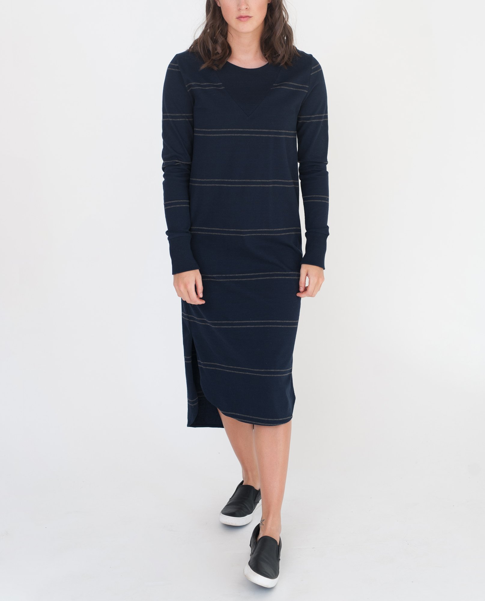 GLORIA Organic Cotton Dress In Navy And Dark Grey from Beaumont Organic