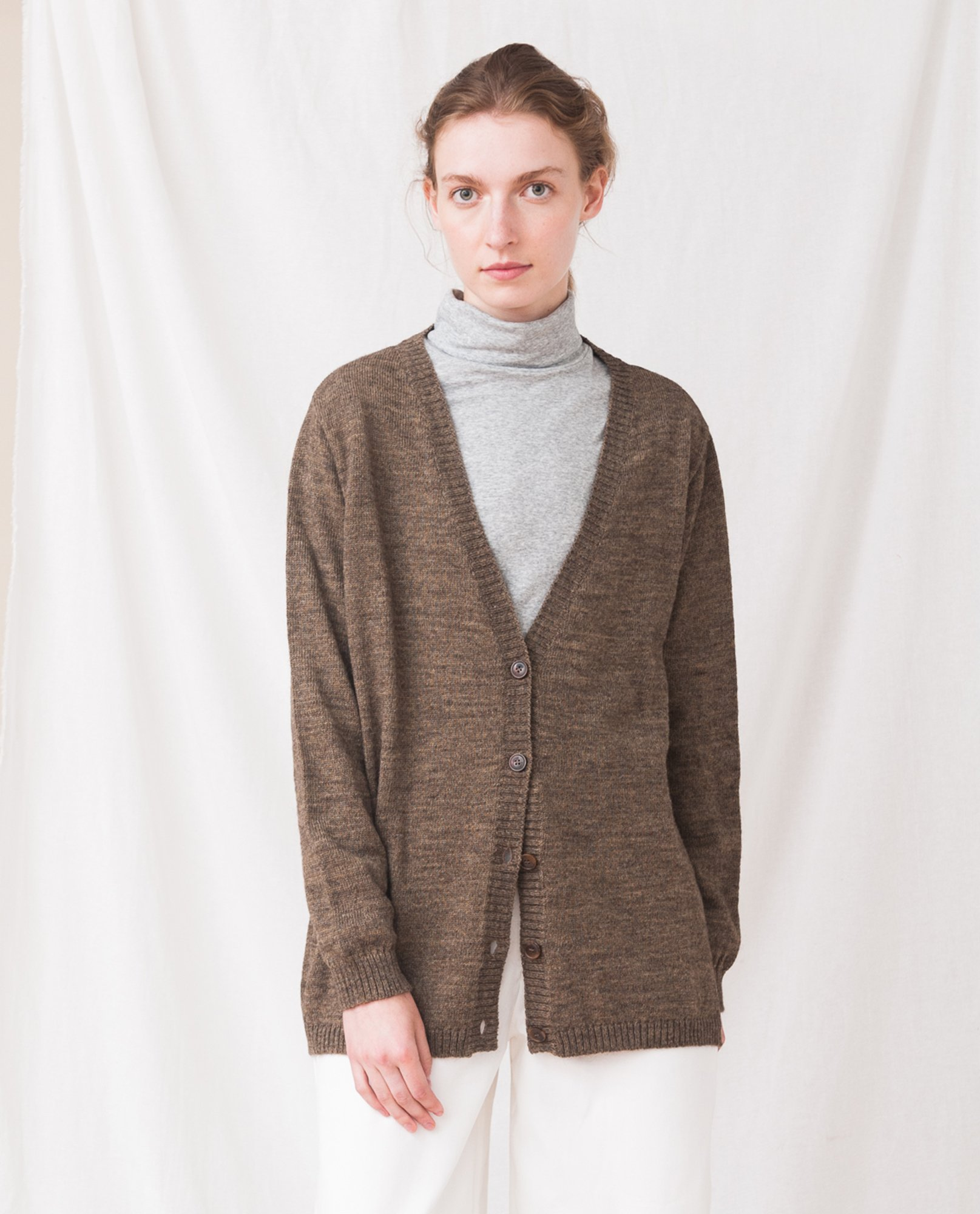 AMBER Wool Knitted Cardigan In Tobacco from Beaumont Organic