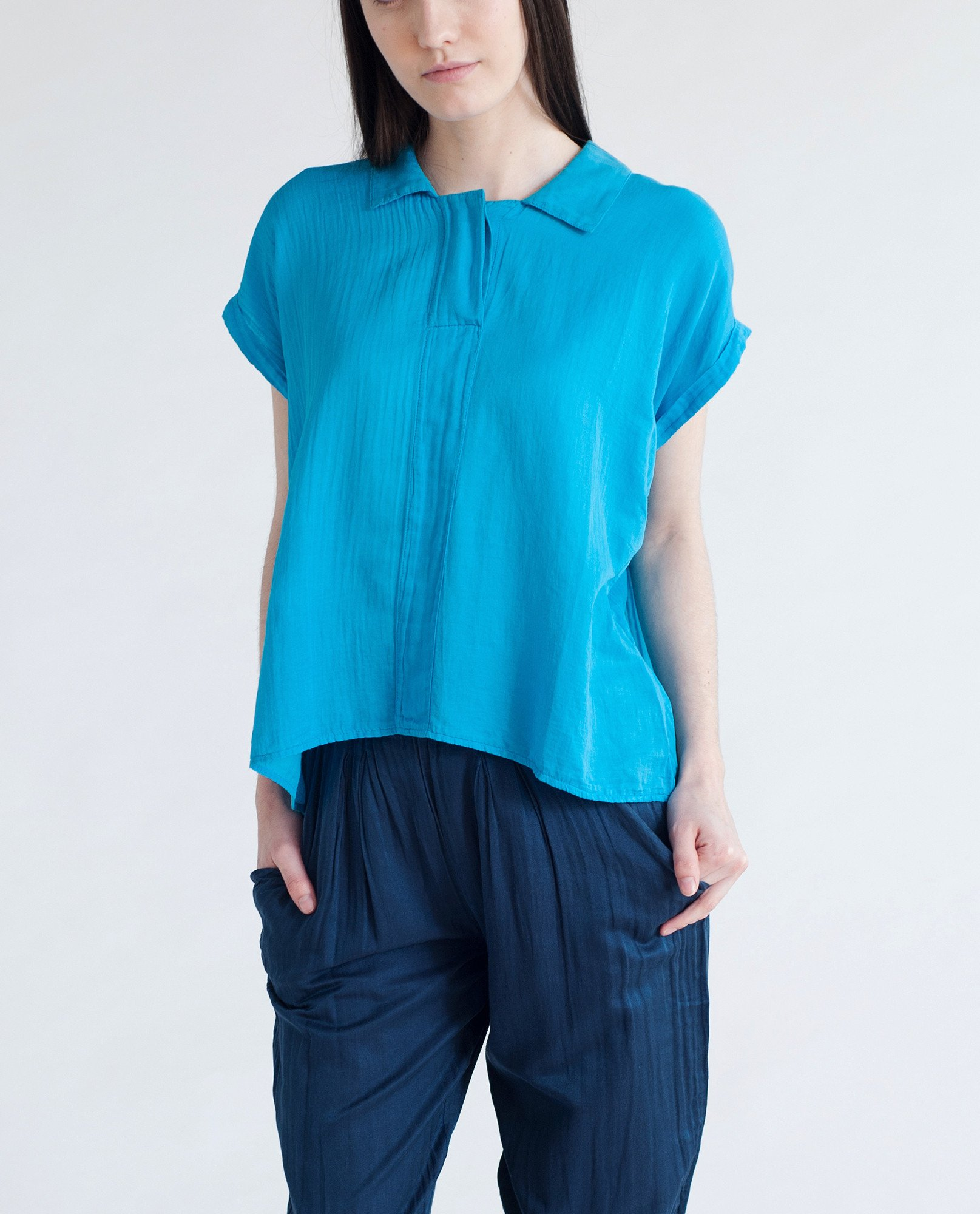 AZAMI Cotton And Silk Blouse In Bright Blue from Beaumont Organic