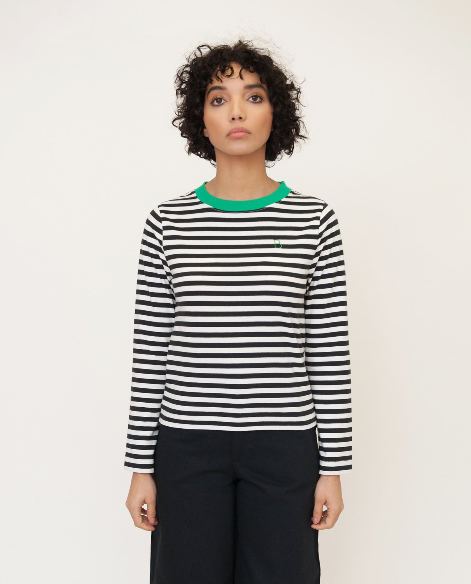 SHOBA Organic Cotton Top In Black And Green from Beaumont Organic
