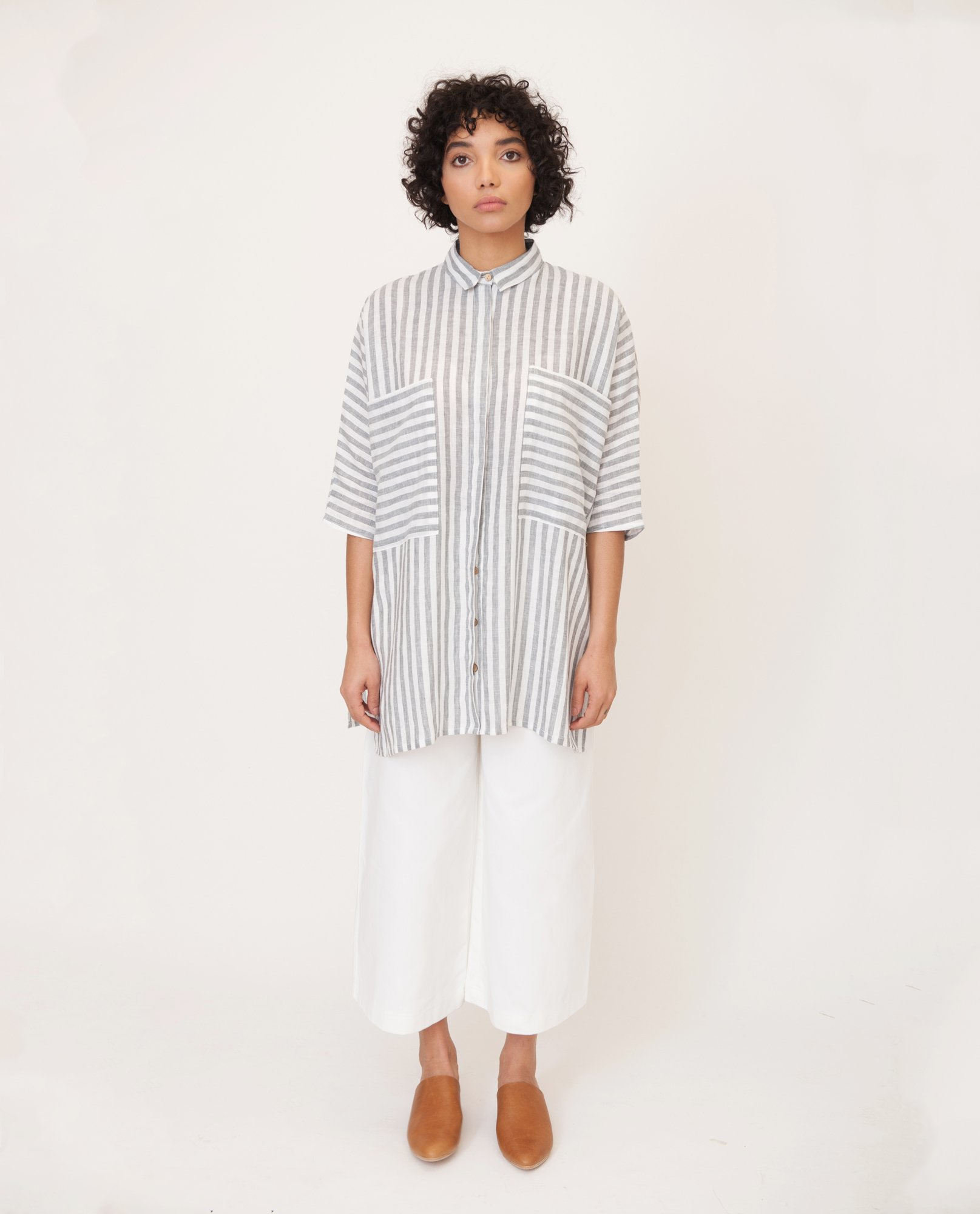 MARSHA Linen Shirt In Grey And White from Beaumont Organic