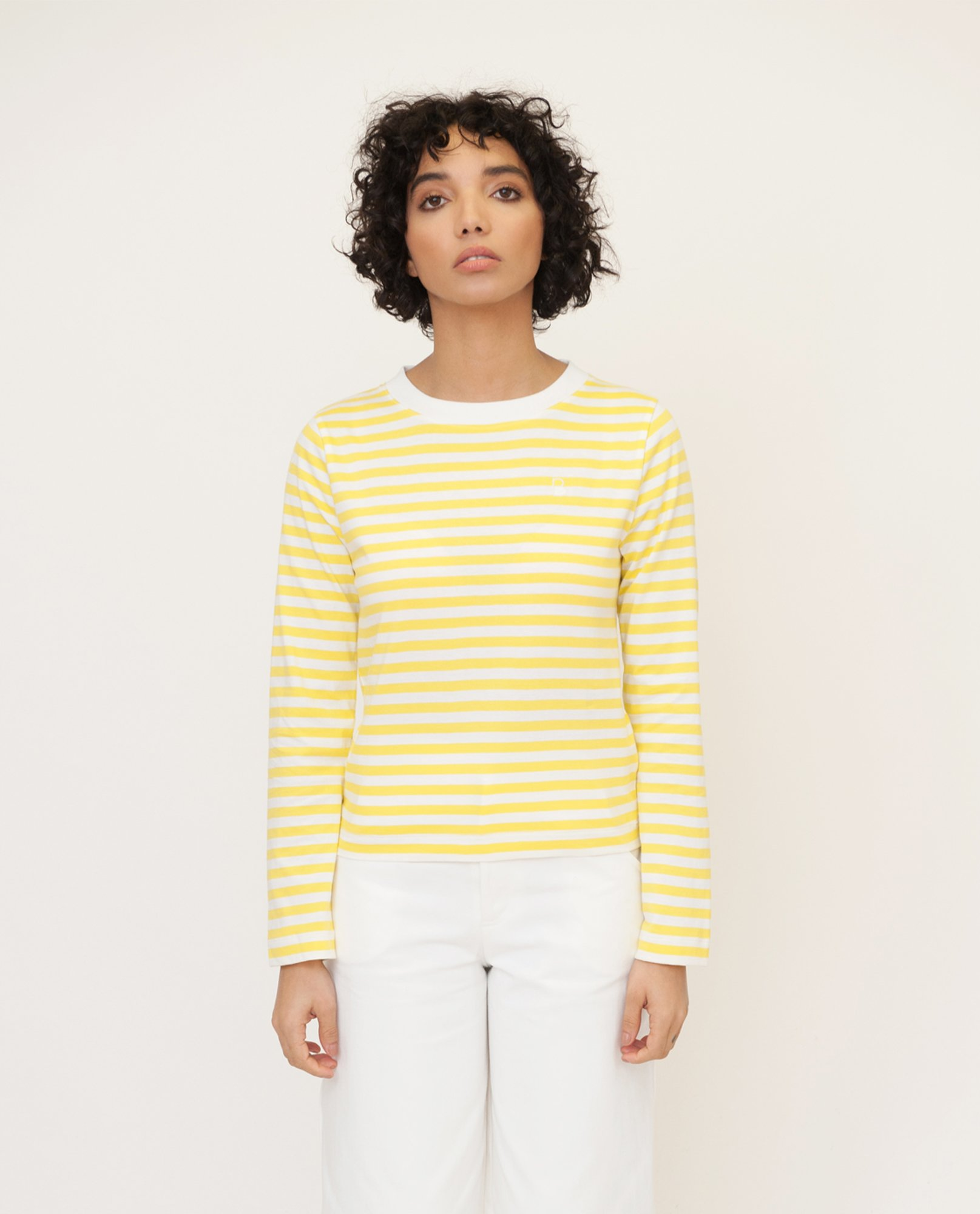 SHOBA Organic Cotton Top In Yellow And White from Beaumont Organic