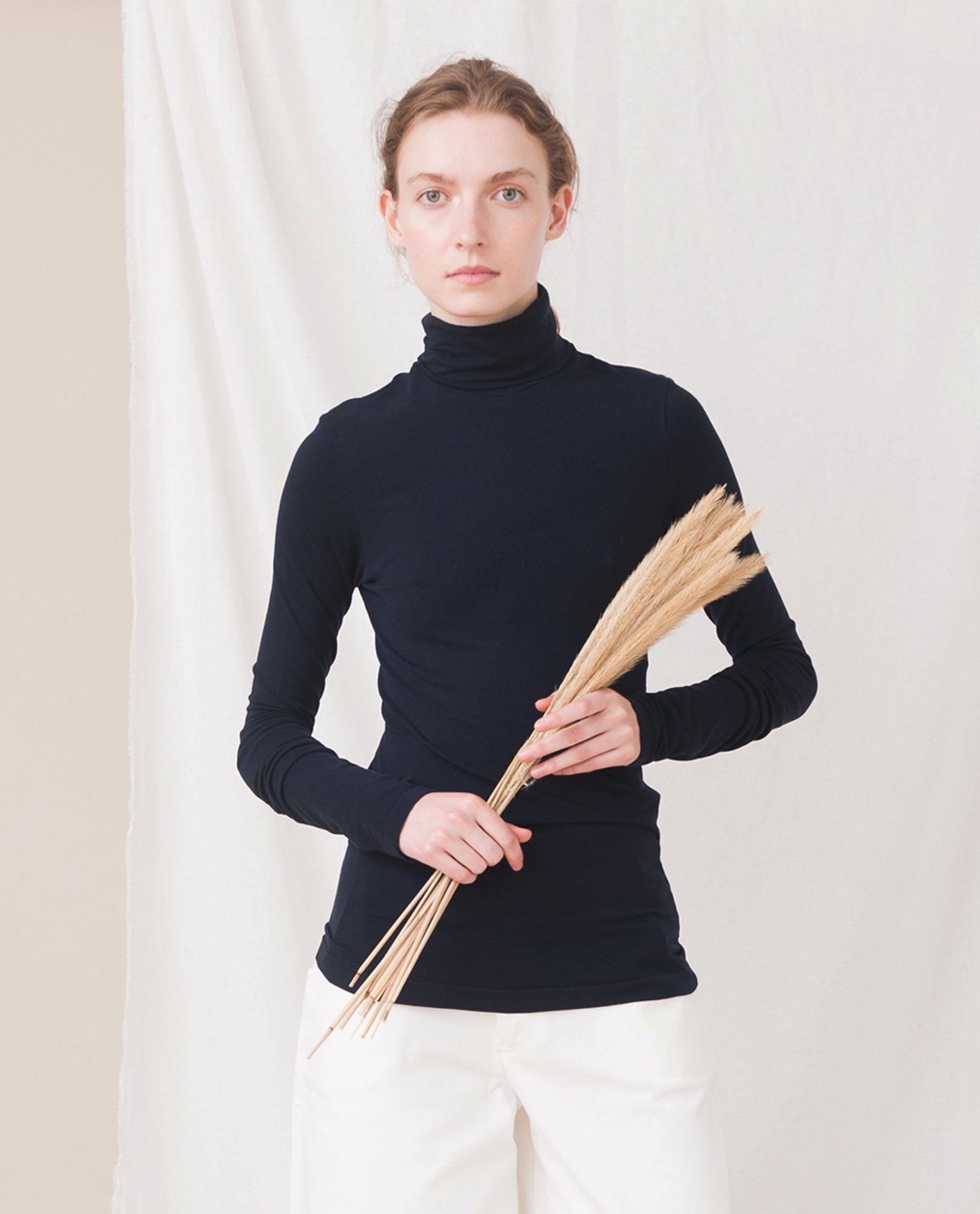 TRICIA Organic Cotton And Lyocell Roll Neck Top In Navy from Beaumont Organic