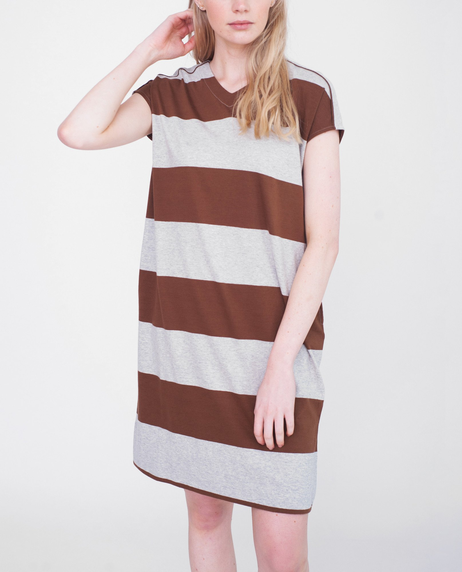 AUBREY Organic Cotton Dress In Light Grey And Brown from Beaumont Organic