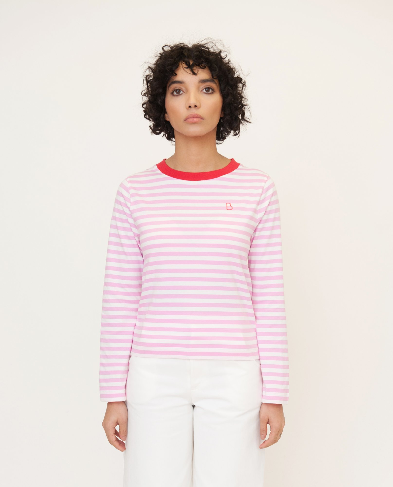 SHOBA Organic Cotton Top In Pink And Red from Beaumont Organic